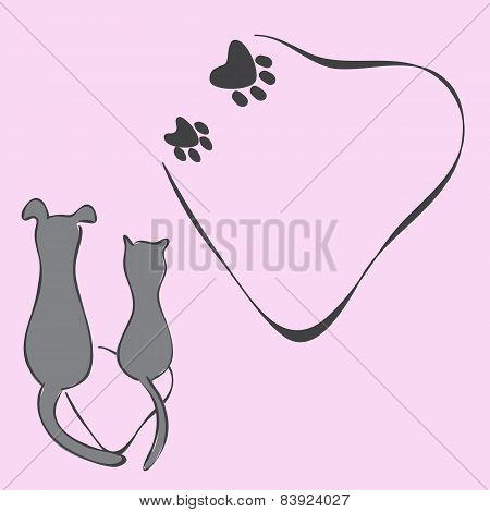 Invitation Card With Cat And Dog