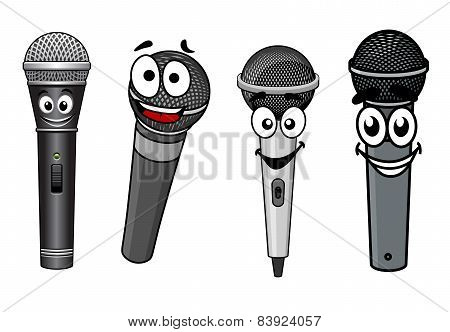 Cartoon happy wireless microphones characters
