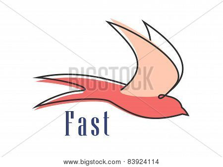 Flying swallow isolated abstract silhouette
