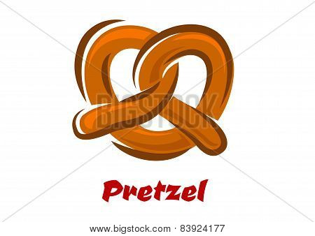 Bavarian twisted pretzel in cartoon style