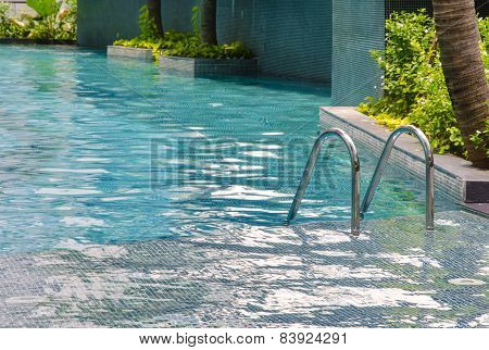 Blue Swimming Pool With Staircase At My Condominium