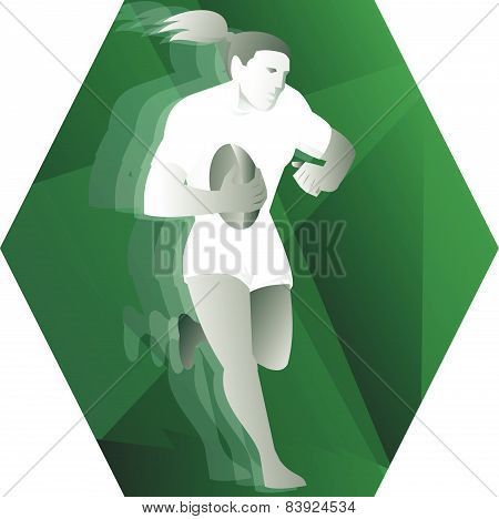 Female Rugby Player Running With Ball Retro