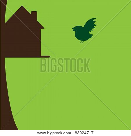 Bird Flying To His Own Nesting Box On Tree