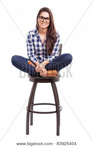 Hipster Girl Sitting On A Chair