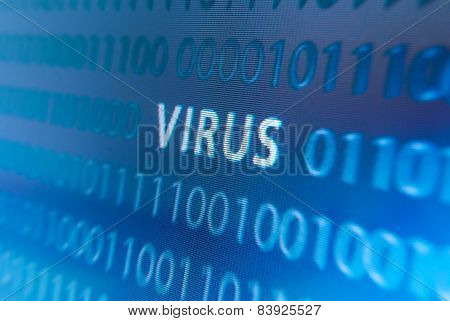 Virus Inscription On Monitor