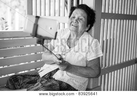 Happy Senior Woman Posing For A Selfie