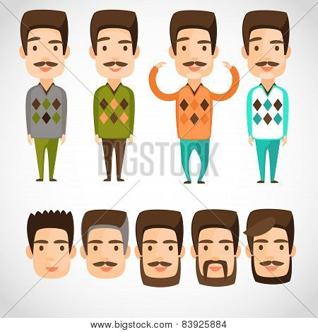 Fathers day card in vintage style. Retro avatar people icon, man face parts, head character