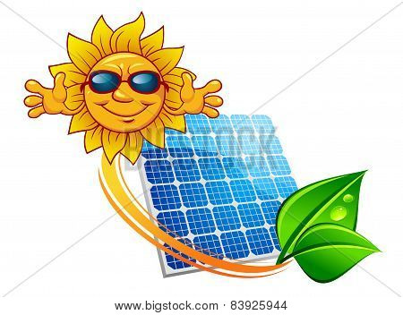 Solar panel and cartoon sun character