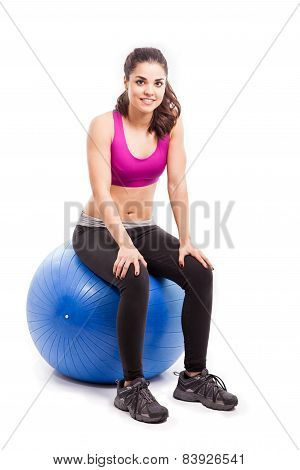 Pretty Girl On An Exercise Ball