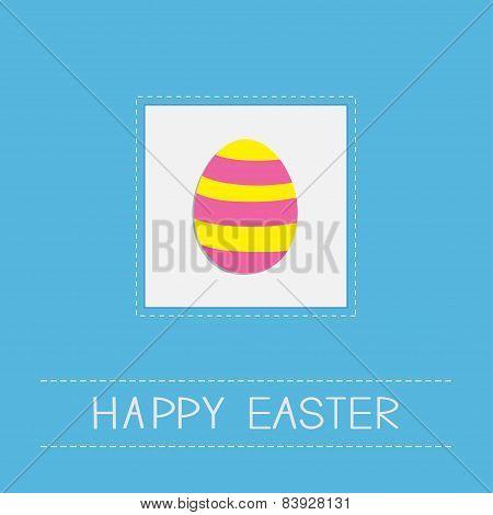 Colored Easter Egg Dash Line Frame Card Flat Design