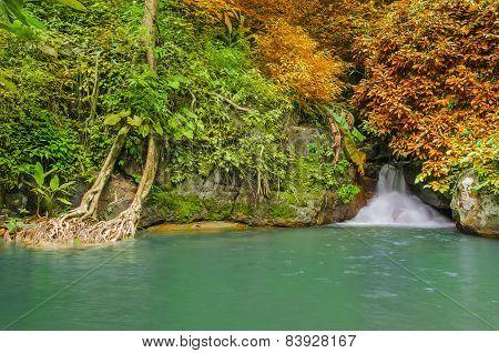 Waterfall In Deep Rain Forest Jungle. Krok E Dok Waterfall Saraburi, Thailand.