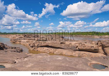 Grand Canyon Amazing Of Rock In Mekong River, Ubonratchathani Thailand