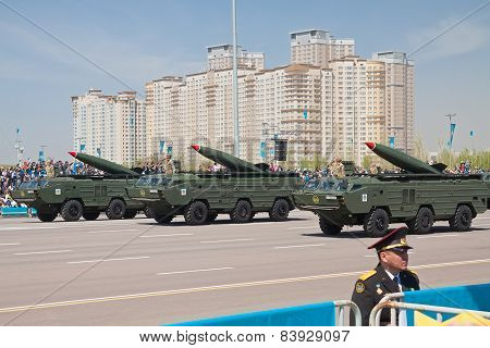 Astana, Kazakhstan - 7 May 2014: Military Parade On The Day Of The Kazakh Army. Astana, Kazakhstan