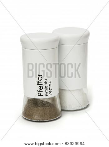 Isolated Pepper And Salt Bottles