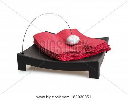 Isolated Napkin Holder With Paperweight