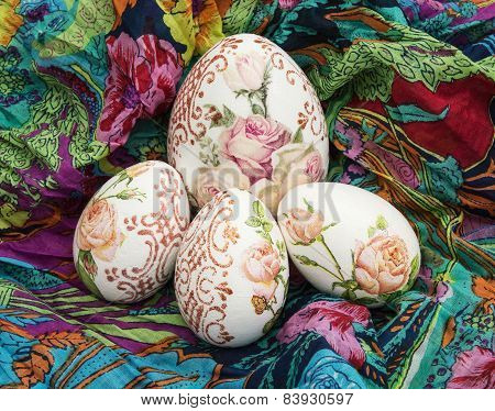 Easter Eggs And Colorful Scarf