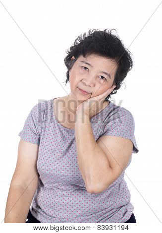 Asian Senior Female Having A Toothache Holding His Face With Her Hand, Isolated On The White Backgro