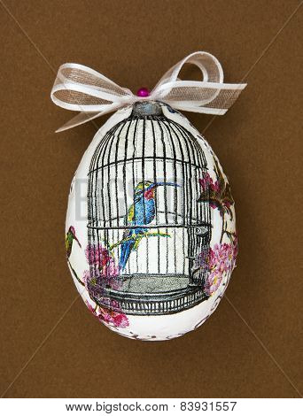 Painted Easter Egg With The Hummingbird In The Cage