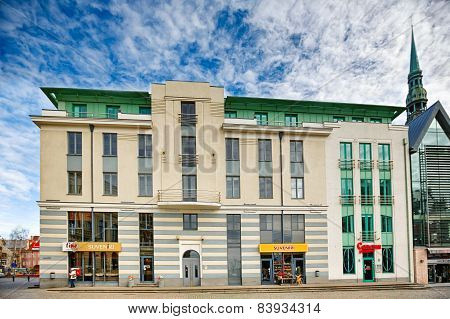 Building On The Main Square In Riga