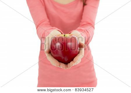 Big Red Apple In Female Hands