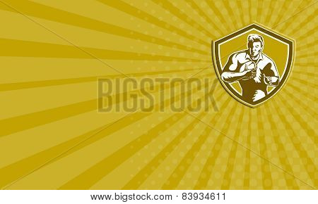 Business Card Rugby Player Running Fending Shield Retro