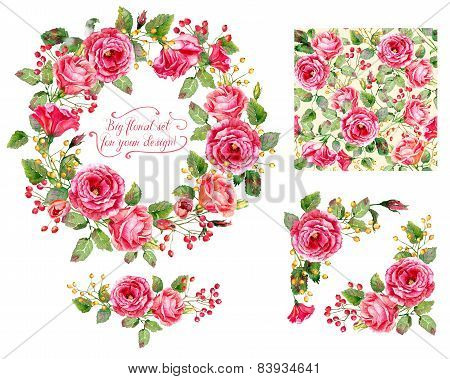 Set Of Different Red, Pink Flowers, Frame, Decorative Element And One Seamless Pattern For Design.