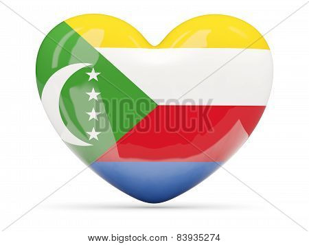 Heart Shaped Icon With Flag Of Comoros