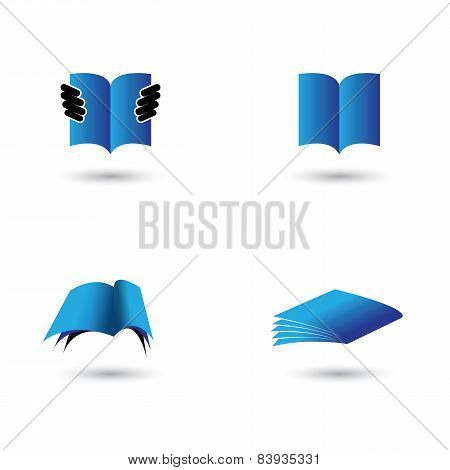Set Of Book Icons In Blue Color - Vector Graphic.