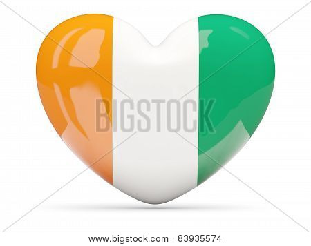 Heart Shaped Icon With Flag Of Cote D'ivoire