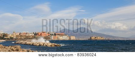 The Castel Dell'ovo (castle Of The Egg) And Vesuvius In Naples Italy