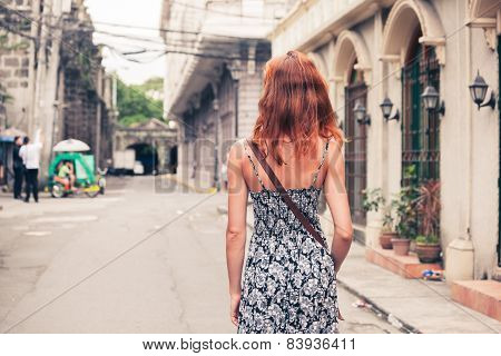 Young Woman Walking In Manila