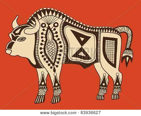 original ethnic tribal bison drawing