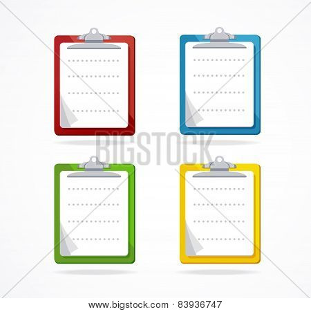 Vector clipboard icon set. Flat Design