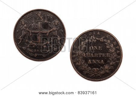 One Quarter Anna coin from the East India Company 1853