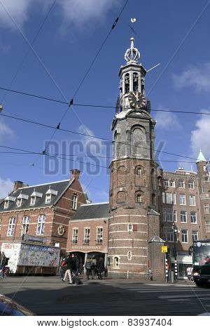 Munt Tower In Amsterdam At The Munt