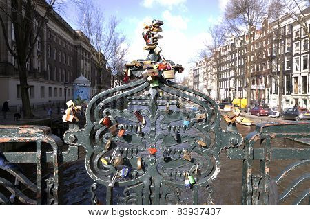 Locks Art The Bridge In Amsterdam