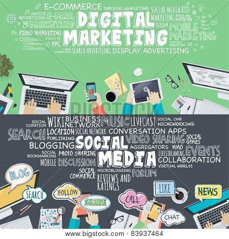 Set of flat design illustration concepts for digital marketing and social media