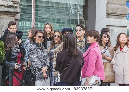 People Outside Jil Sander Fashion Show Building For Milan Women's Fashion Week 2015