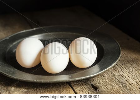 Fresh Duck Eggs In Moody Vintage Retro Style Natural Lighting Set Up