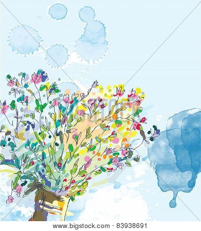 Floral background with watercolor elements