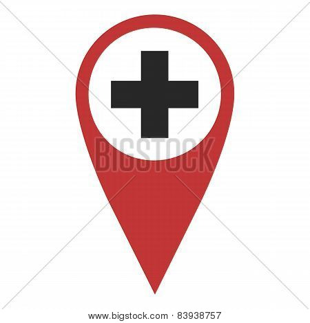 Red Geo Pin With Cross
