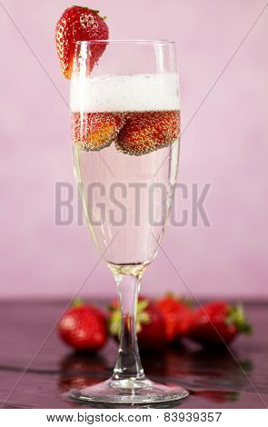 Champagne With Fresh Strawberry
