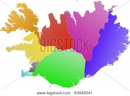 Iceland - color map of the regions