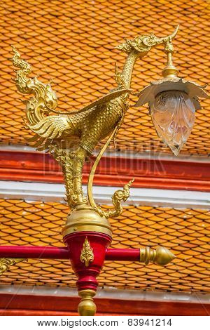 Thai Traditional Beautiful Golden Swan On Street Lamp Post In Bangkok, Thailand.
