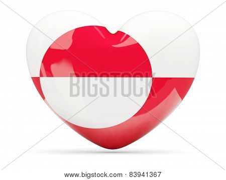 Heart Shaped Icon With Flag Of Greenland
