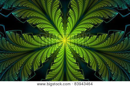 Decorative Green-cyan Palm Leaf