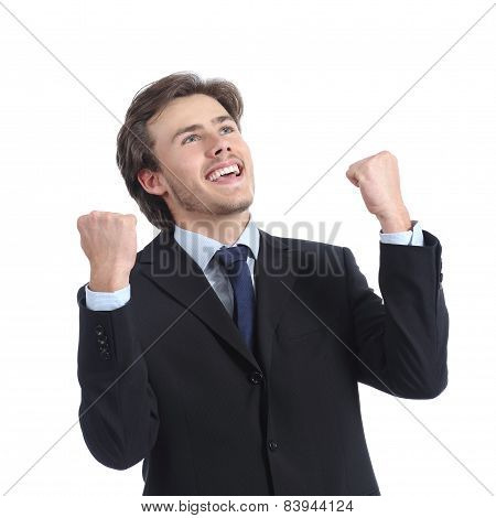 Euphoric Successful Businessman Raising Arms