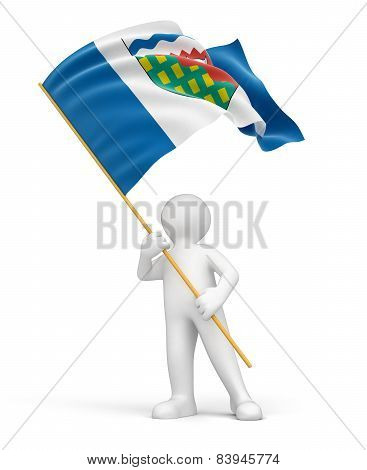 Man and flag of Northwest Territories (clipping path included)