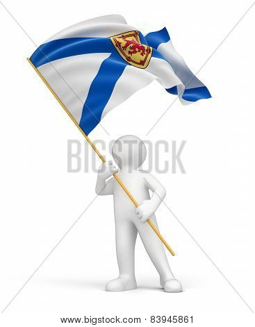 Man and flag of Nova Scotia (clipping path included)