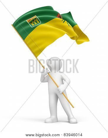 Man and flag of Saskatchewan (clipping path included)